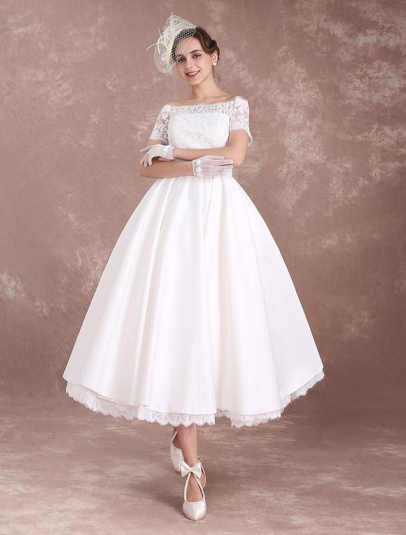 Short Wedding Dresses Vintage Bridal Dress 1950\'s Bateau Lace Short ...