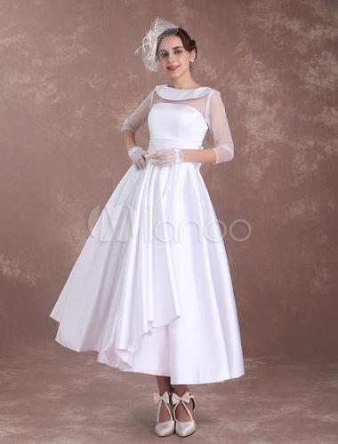 9e7dd6e15 ... White Wedding Dresses Short 1950's Vintage Bridal Dress Satin Long  Sleeve Pleated Illusion Tea Length Wedding ...