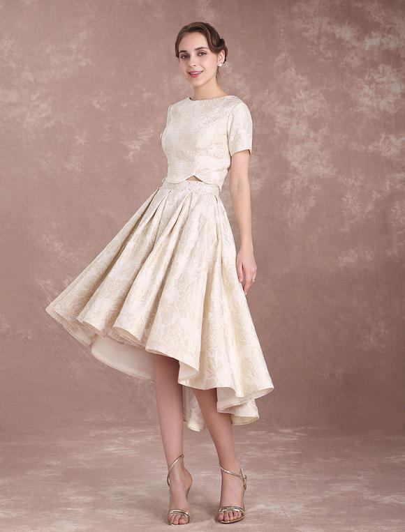 Champagne Wedding Dresses Short Sleeve Beach Bridal Dress Lace ...
