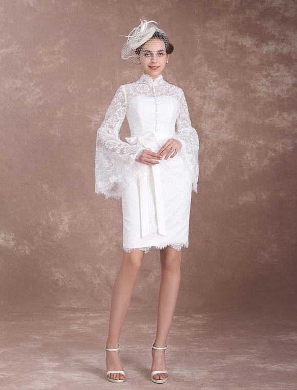 Short Wedding Dresses Lace Sheath Ivory Bridal Dress Boho Bell Sleeve High Collar Buttons Ribbon Sash Column Knee Length Bridal Gown Milanoo