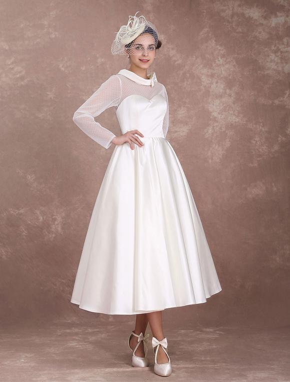 Rockabilly Wedding Dress.Wedding Dresses Short 1950 S Vintage Bridal Dress Long Sleeve Sweetheart Neckline Satin Ivory Rockabilly Wedding Dress Milanoo