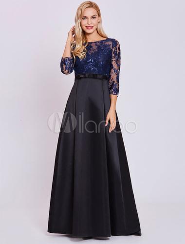 9ac3095fb ... Vestido de noche de color azul marino oscuro con 3 4 manga con escote  redondo ...