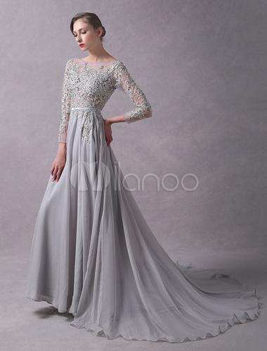 Abendkleider hellgrau backless langarm spitze applique perlen illusion sash abendkleider mit zug - Milanoo abendkleider ...