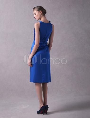 Hochzeitsgast Kleider Royal Blue Short Mutter der Braut Kleid Satin ...