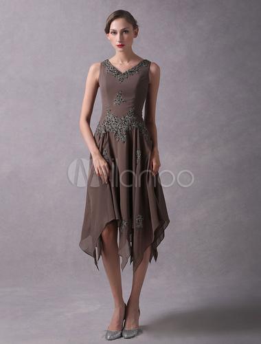 364be106d9356 ... Wedding Guest Dresses Lace Applique Chiffon Short Mother Dresses Beaded  V Neck Asymmetrical Wedding Party Dress ...
