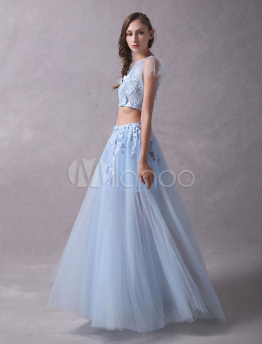 75b9867d8534d ... Prom Dresses Two Piece Lace Flowers Applique Short Sleeve Tulle Baby  Blue Party Dresses-No ...