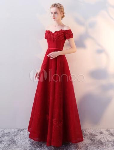 22843dd3d31e820 ... Длинные платья выпускного вечера 2019 от плеча вечерние платья кружева  аппликация вышитый бисером Бургунди длиной до ...