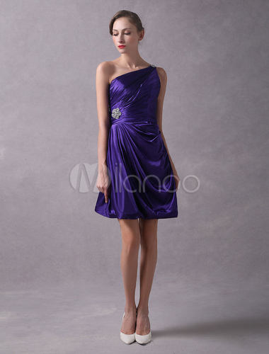 0eb51f6221b ... Short Bridesmaid Dresses One Shoulder Pleated Beaded Royal Purple  Bridesmaid Dress-No.2 ...