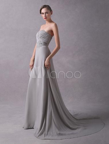 Abendkleider liebsten chiffon plissee sicke abendkleider mit zug - Milanoo abendkleider ...