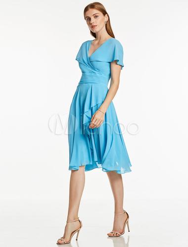 Wedding Guest Dresses Short Sleeve Chiffon Royal Blue V Neck ...