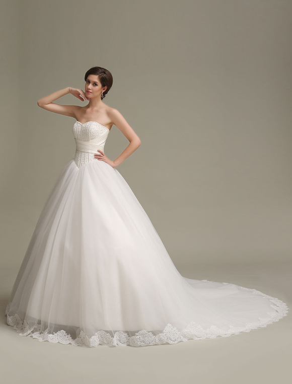 Princess Wedding Dresses Ball Gowns Strapless Lace Applique Pleated ...