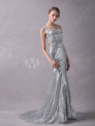 b14f1172 ... Silver Evening Dresses Sequined Beaded Glitter Sexy High Split Cross  Back Formal Occasion Dresses With Train ...
