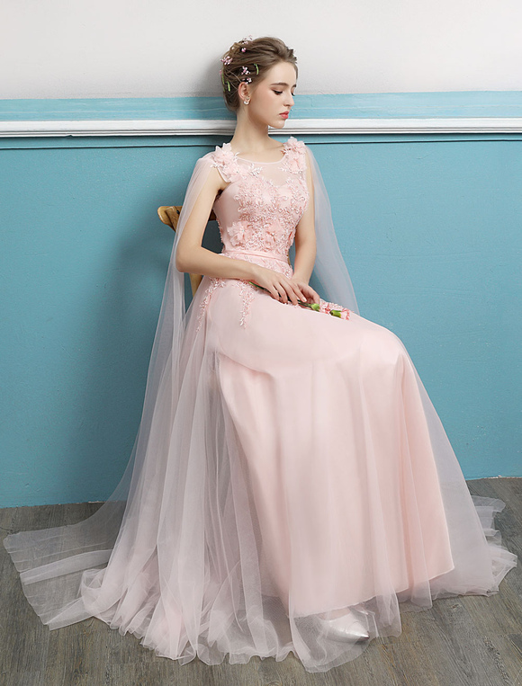 Prom Dresses 2019 Long Soft Pink Prom Gown Lace Beading Sash Ribbon