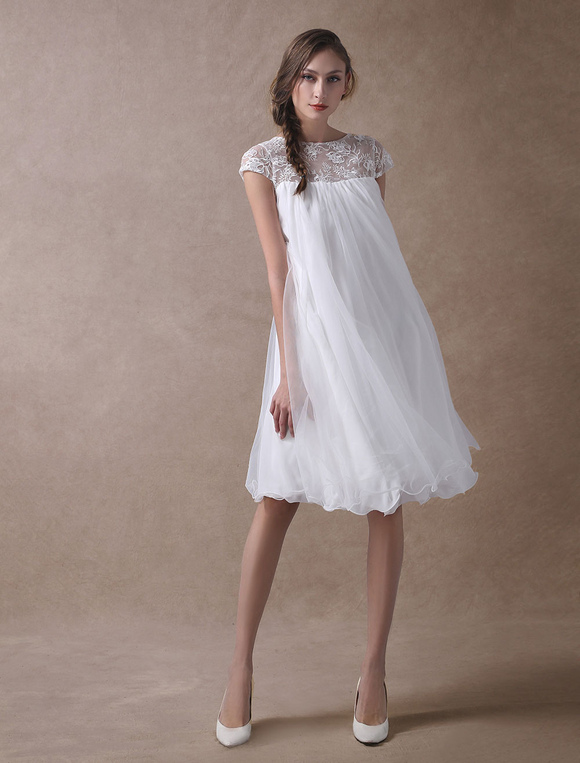 Casual Wedding Dresses Short Empire Waist Lace Tulle Cap Sleeve