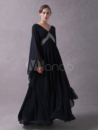Abendkleider arabisch dark navy v ausschnitt v zur ck chiffon perlen langarm bodenlangen - Milanoo abendkleider ...