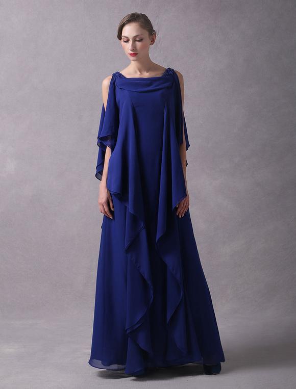 Abendkleider arabisch k nigsblau chiffon cascading r schen perlen bodenlangen hochzeitsgast - Milanoo abendkleider ...