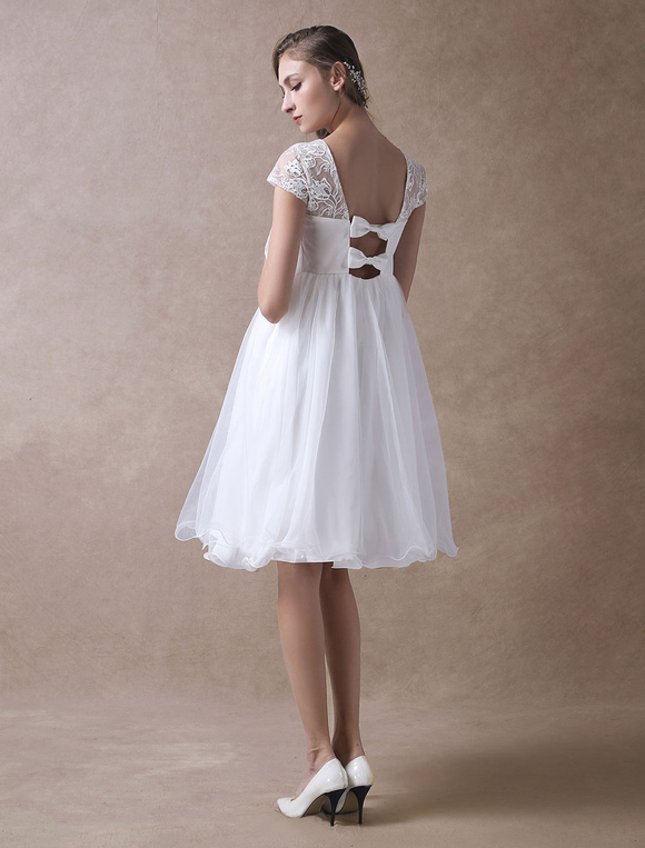 4c5732e4dc513 Simple Wedding Dresses Short Empire Waist Lace Tulle Cap Sleeve Pregnant  Bridal Dress