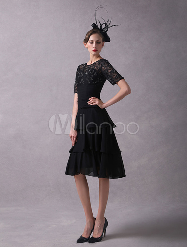 Mother Of The Bride Dresses Black Lace Beaded Chiffon Tiered Short Sleeve Wedding Guest Dress