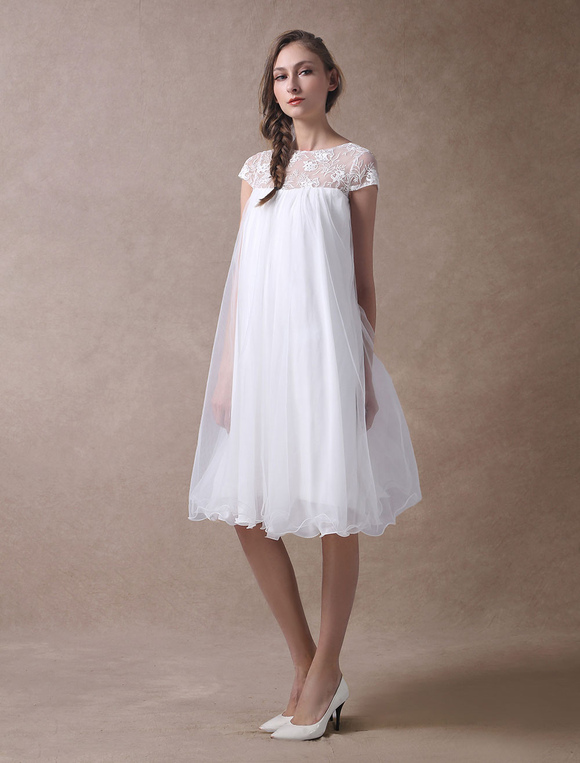 Short Casual Wedding Dresses with Sleeves