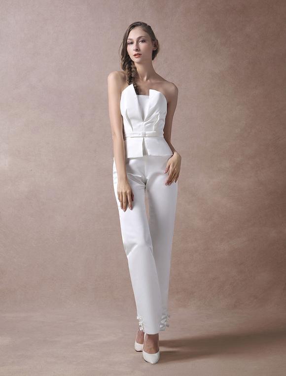 online store 91cb2 1d8ac Hochzeit Jumpsuits Elfenbein trägerlosen Peplum Satin Bow Sash lange Braut  Overall