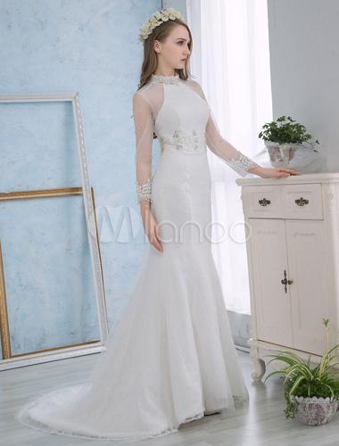 Hochzeits-Kleidermeerjungfrau-Elfenbein-Spitze-Brautkleid-lange ...