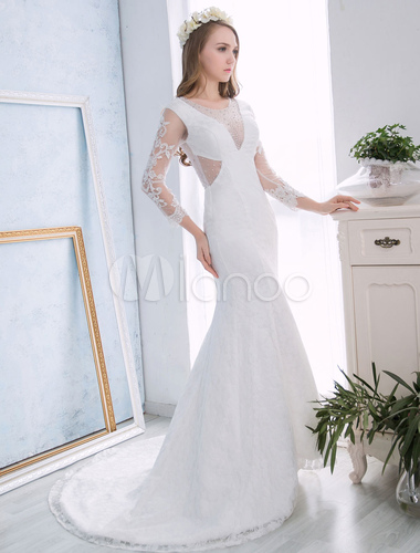 Lace Wedding Dresses Beach Ivory Long Sleeve Mermaid Bridal Dress ...