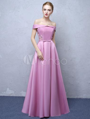 Party Rosa Plissee Von Spitze Fuchsia Kleider Applique Weg Formale Kleid Der Schulter Prom Anlass Lange Bodenlangen Satin 9EHYWI2D