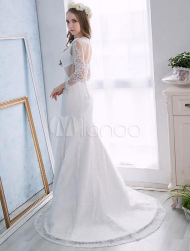 0e3943e90fb3c ... Lace Wedding Dresses Beach Ivory Long Sleeve Mermaid Bridal Dress Open  Back Illusion Pearls Beaded Summer ...