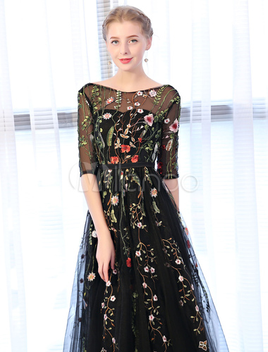 f7b1806bede ... Black Prom Dresses Backless Half Sleeve Floral Embroidered Tulle Floor  Length Occasion Party Dress-No ...
