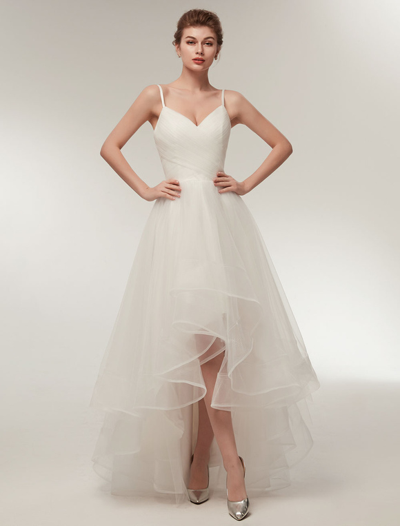 Beach Wedding Dress High Low Summer Bridal Ivory Tulle Spaghetti Straps Asymmetrical Gowns
