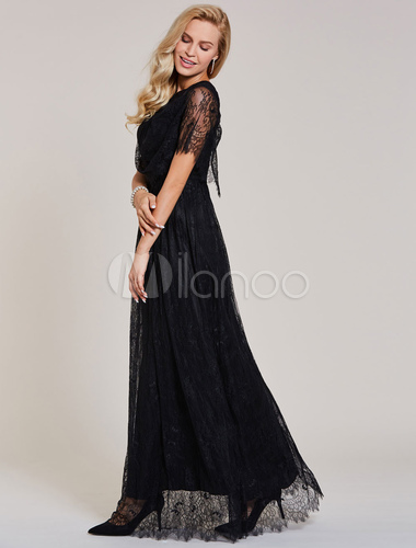Lace Evening Dresses Black Short Sleeve Prom Dress Long Floor Length ...