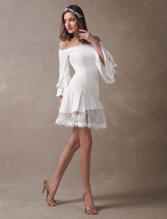 vestido de novia corto boho con escote barco mini vestido de playa