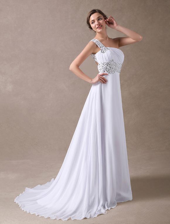 Vestidos de novia blanco Un hombro Beach vestido nupcial gasa