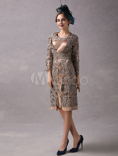 6f2c7437d0f ... Wedding Guest Dresses 2 Piece Mother Suits Taupe Lace Satin Vest And  Jacket Wedding Party Dress ...