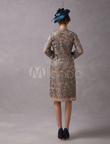 Wedding Guest Dresses 2 Piece Mother Suits Taupe Lace Satin Vest And
