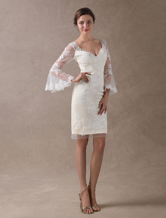 Boho Wedding Dresses Short Sheath Beach Bridal Dress Bell