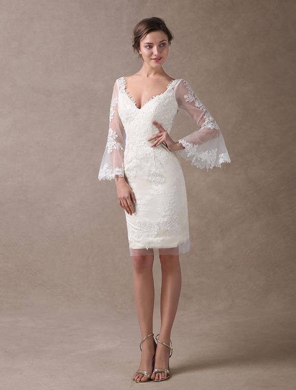 8504426f93d ... Boho Wedding Dresses Short Sheath Beach Bridal Dress Bell Sleeve Lace  Applique V Neck Knee Length ...