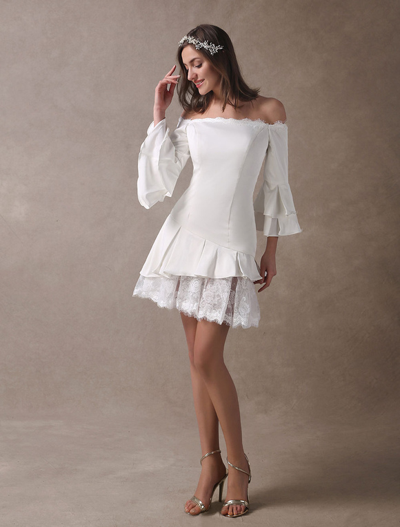 48060b137a ... Vestidos de Casamento Curto Boho Fora Do Ombro Vestido De Noiva Mini  Manga Comprida Em Camadas ...