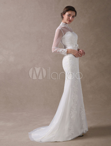 2efb71a798a6e ... Ivory Wedding Dresses Mermaid Lace High Collar Long Sleeve Illusion Sweetheart  Neck Bow Sash Wedding Gowns ...
