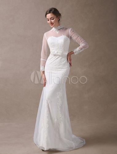 Vestidos de novia de marfil de encaje de sirena de cuello alto manga ...