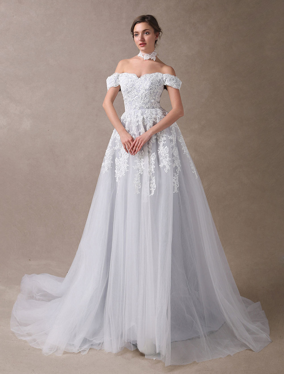 Colored wedding dresses off shoulder bridal dress choker lace colored wedding dresses off shoulder bridal dress choker lace applique tulle light grey wedding gowns with junglespirit Gallery