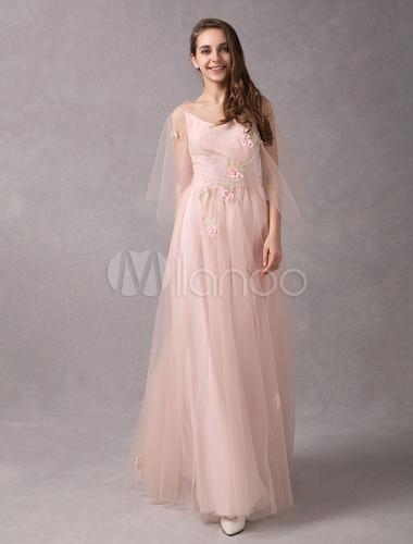 Kleid lang pfirsich