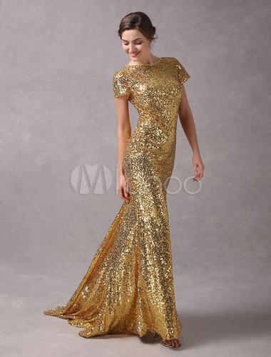 Pailletten abendkleider light gold mermaid kurzarm abendkleid mit zug - Milanoo abendkleider ...