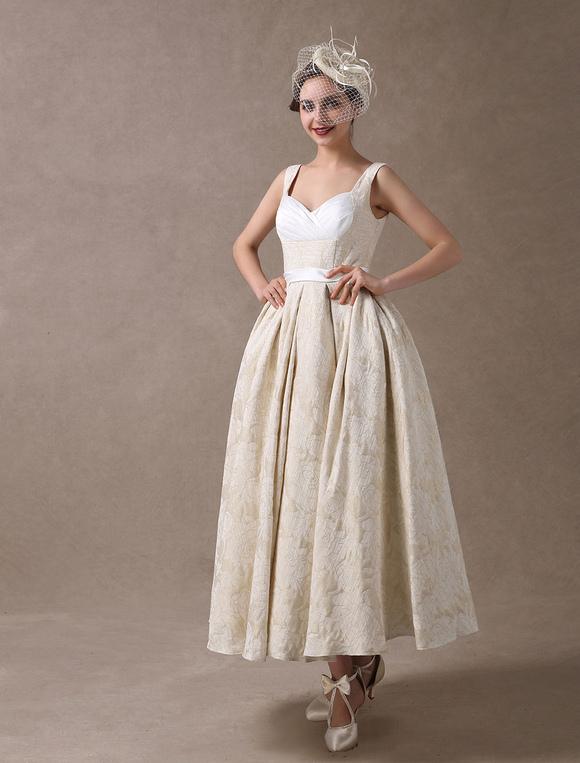 Vestidos de boda de la vendimia Champagne corto vestido nupcial ...