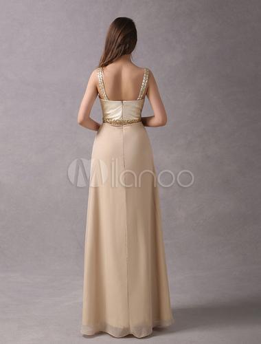 Prom Kleider lange Champagne Perlen Straps bodenlangen formale Party ...