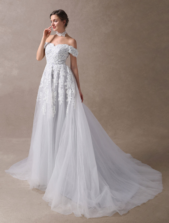 Colored Wedding Dresses Off Shoulder Bridal Dress Choker Lace ...