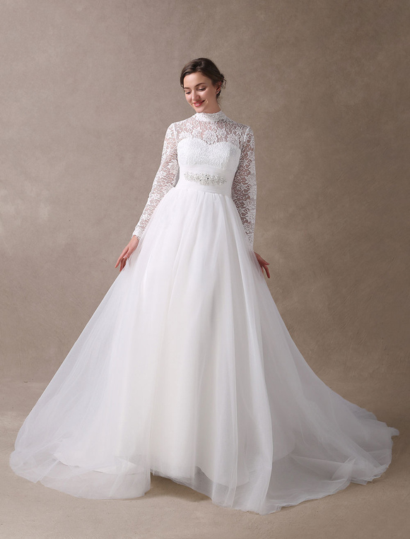 Gown Vintage Bridal Dress Lace Long Sleeve Beaded Sash High Collar ...