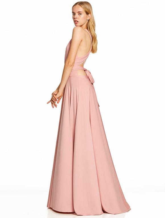 Prom Kleider lange Blush Pink Knotted V-Ausschnitt Backless Criss ...