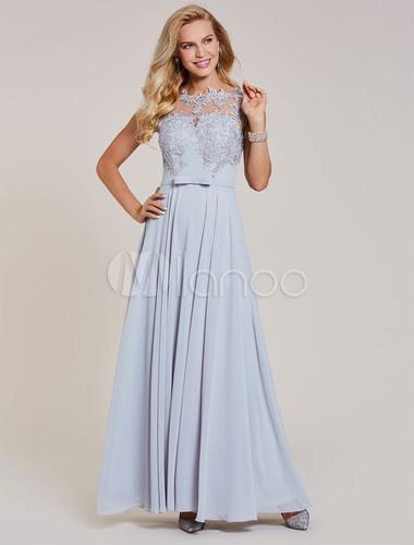 Silber Prom Kleider lange Chiffon Abendkleider Spitze Applique ...