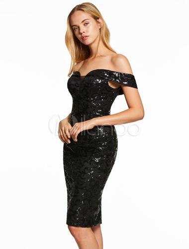 Pailletten Cocktailkleider aus der Schulter wenig schwarzes Kleid ...